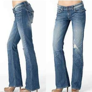Vigold mid rise stretch boot jeans 7  flap pockets